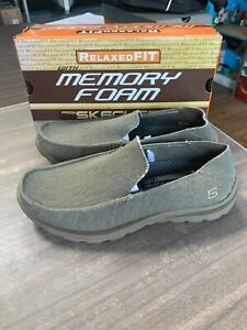 NEW Men's Skechers Superior Relaxed Fit Slip On Canvas Loafer Taupe Pick Size