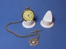 2 x Mini ANTIQUE EFFECT Ceramic Pocket watch stands, watch display stands.