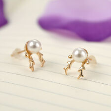 NEW Xmas Rhinestone Pierced Christmas Pearl Deer Earrings Ear Stud Fashion Gift