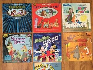 LP Lot of 7 Walt Disney Albums: Bambi Jungle Book Sleeping Beauty Mickey Disco