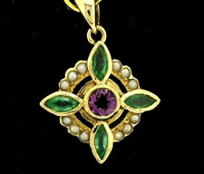 Genuine 9ct Yellow Gold Natural Amethyst, Emerald & Pearl Suffragette Pendant