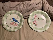 "TWO Lenox Summer Greetings 10"" Plates Eastern Bluebird Ruby Throated Hummingbird"