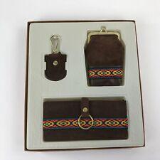 Vintage Wallet Set Key Chain Cigarette Case Brown Suede Aztec Details Matching