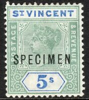 St Vincent 1899 green/blue 5/- Specimen crown CA perf 14 mint SG75