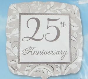 25th Wedding Anniversary Elegant 17 Inch Foil Balloon Square New Anagram Party