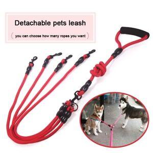 2/3/4 Way Couplers Pet Walking Leash Braided Nylon Elastic Pet Dog Collar Belt
