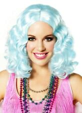 Icy Blue Curly Flapper Costume Wig Roaring 20s Carnival Festival Mardi Gras
