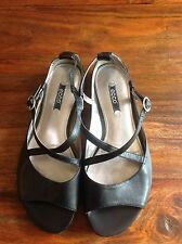 Ecco Black Leather Sandals, Size EU 38, UK 5-5.5