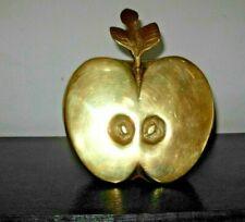 Vtg Brass Apple Art Sculpture Bookend Hollywood Regency Mid Century Modern Retro