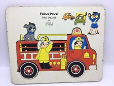 Fisher-Price Fire Engine Puzzle -wooden tray vintage 12 piece 561