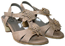 LADIES TAUPE SLIP ON STRAPPY SANDAL WITH FLOWER TRIM AND ANKLE STRAP IN SIZE 6