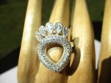 Ring Heat & Crown For A Queen 26- Estate Elegant Micro Cz 925 Sterling Silver