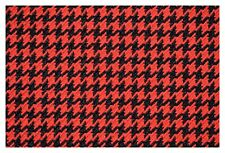 Red and Black Houndstooth Canvas Tweed Fabric 55