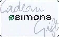 Gift Card Cadeau simons BILINGUAL COLLECTIBLE NO VALUE RECHARGEABLE