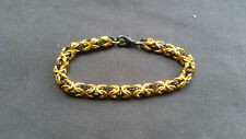 Gold and Black Anodized Aluminum Byzantine Chain mail Bracelet