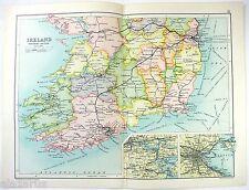 Original 1909 Map of The Southern Section of Ireland by John Bartholomew. Antiqu