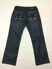 Laguna Beach Men's Sapphire Crystal Cove Skull Dark Wash Jeans Size 36