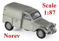 Citroen 2cv AU fourgonnette 1951 gris métallisé - Norev - Echelle 1/87 - HO