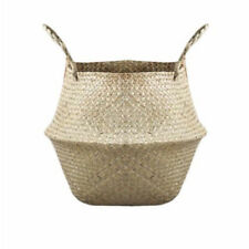 Basket Rattan FoldingWicker Handle Round Natural Sea Grass Plant Storage Wood WL
