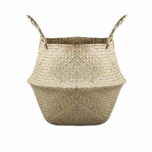 Basket Rattan Folding Wicker Handle Round Natural Sea Grass Plant Storage_