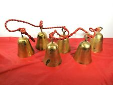 Vintage 6 Brass Bells on Red Cord String