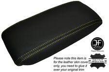 YELLOW STICH NON SLIDING ARMREST LID LEATHER SKIN COVER FITS JAGUAR X-TYPE 01-09