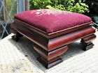 Antique Embroidered Floral Walnut Footstool Victorian