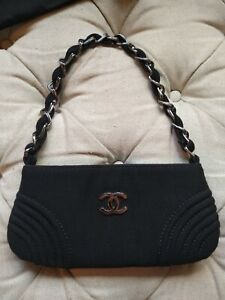 Authentic Chanel CC Black Bag Handbag CC Logo + Card