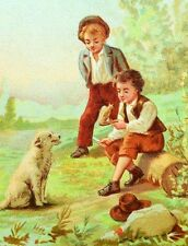 1870's-80's Boy Carving Wood Dog From Real Dog Au Bon Marche Victorian Card F87