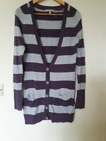 Fat Face Long Striped Thin Knit Cardigan Top Size 10