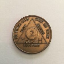 Vintage Alcoholics Anonymous AA 2 Month Metal Token