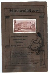 1922 INDIANAPOLIS, IN MINSTREL SHOW PROGRAM - BENEFIT FOR GYMNASIUM FUND