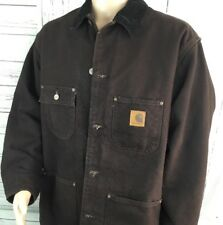 Carhartt Jacket Barn Work Chore Coat Field Blanket Lined Duck Brown Canvas XL