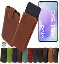 Vivo x51 5g Guscio Borsa Slim Case Vera Pelle Cappuccio Protettivo Cover Astuccio 14 colori