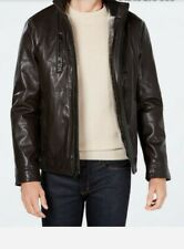 CALVIN KLEIN MEN'S FAUX-LEATHER JACKET WITH FAUX-FUR LINING.