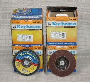 "SET 10 x Karbosan 125x22mm NK 80 Al. Ox. CONICAL Flap Sanding Disc (5""x7/8"")"