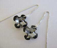 Silver Night Greek Cross Ear Thread Earrings made with Swarovski,Sterling Silver