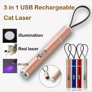 3 in 1 Rechargeable Laser Pointer Toy USB Charging Cat UV Flashlight Pen