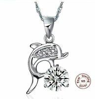 Delphin Anhänger Halskette 925 Silber Kordelkette Geschenk weiß Lila Glück Damen