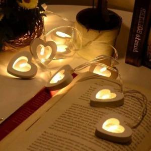 10LED String Fairy Lights Lamp Wooden Heart Christmas Wedding Party Light Bulbs