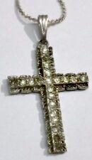 pendentif collier bijou vintage croix couleur argent cristal diamant 1795
