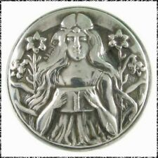 Antique Hallmarked Silver Button, Young Woman Reading a Book, 1902, Samuel Levi