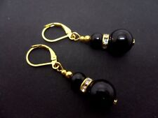 Bead Gold Plated Leverback Hook Earrings. A Pair Of Dangly Black Onyx
