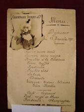 Ancien menu publicaire Champagne DUMINY & C° 11 Novembre 1901