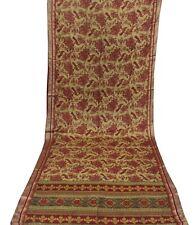 Vintage Brown Saree Peacock Printed Pure Silk Fabric Indian Women Dress Sari 5YD