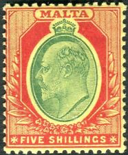 More details for malta-1911 5/- green & red/yellow.  a lightly mounted mint example sg 47
