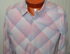 Armani Exchange Men's Shirt Large Pink Gray Plaid