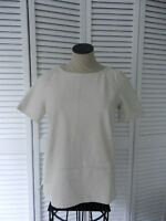 J. Crew women's of white (ivory) leather front short sleeve top, Size: XS