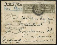 INDIA BURMA UK 1929 AIR MAIL POSTED IN TOUNGOO TO CORNWALL W/AUXILIARY ADVERTISI