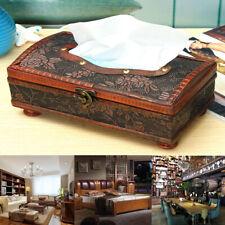 Retro Vintage Wooden Tissue Box Rectangular Paper Cover Case Napkin Holder Gif
